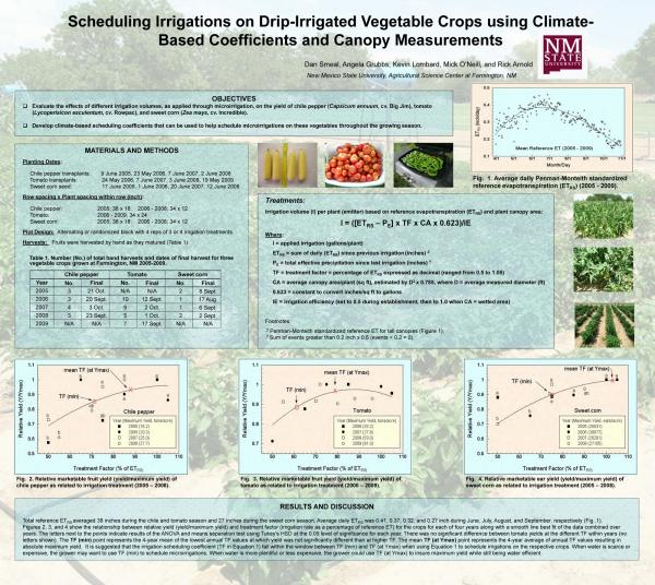 Poster Data Scheduling Irrigations on Drip Irrigation Vegetable Crops using Climate-based Coefficients and Canopy Measurements